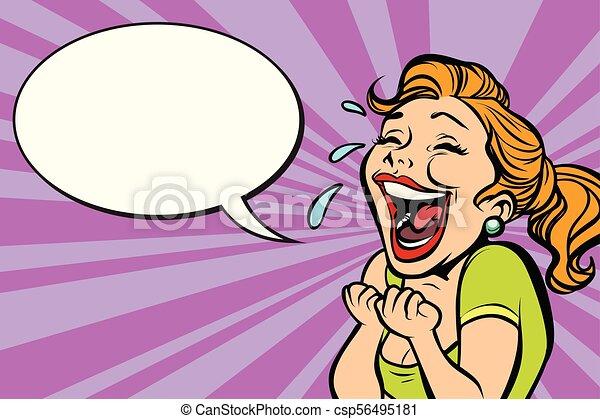 La mujer se ríe con lágrimas - csp56495181