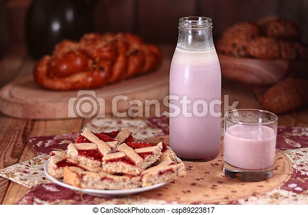 láhev, nápoj, dojit, barometr, dort - csp89223817