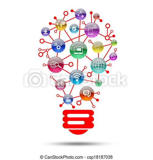 La lámpara consiste en iconos de aplicaciones - csp18187038