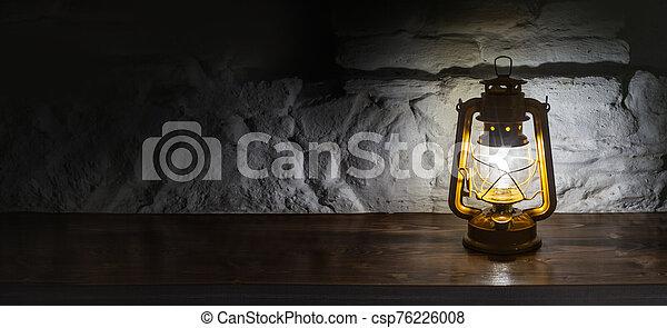 lámpara, de madera, plano de fondo, queroseno, viejo - csp76226008