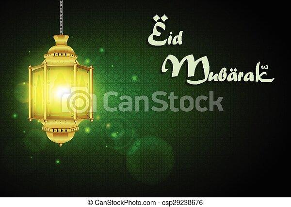 Eid mubarak con lámpara iluminada - csp29238676