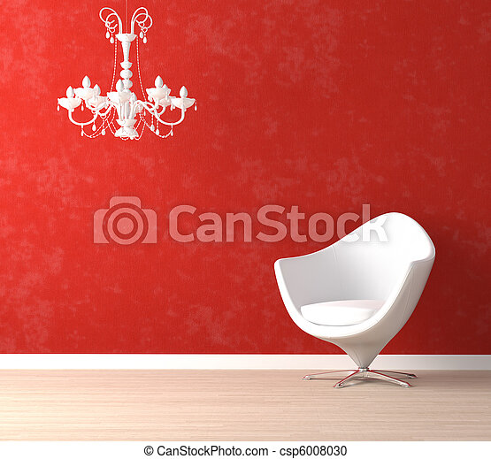 La silla blanca y la lámpara en rojo - csp6008030