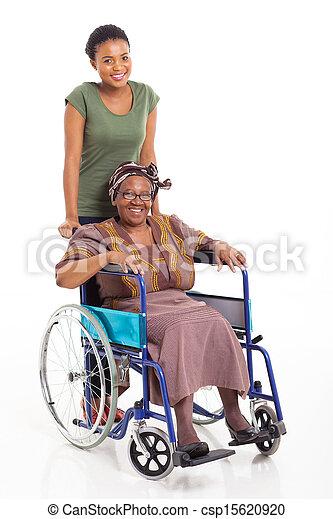 lány, afrikai, tolószék, rámenős, anya, idősebb ember - csp15620920