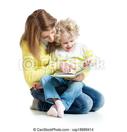 lány, neki, fiatal, könyv, anyu, felolvasás - csp18689414