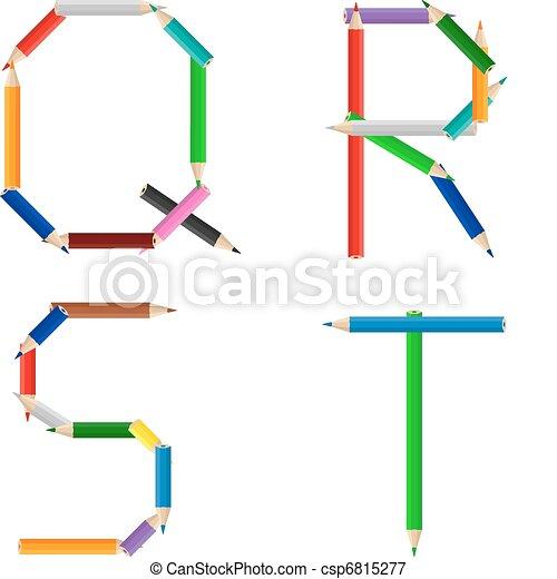 Lápices, coloreado, alfabeto. Alfabeto, hecho, lápices de color.