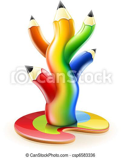 Lápices Concepto Arte Color árbol Creativo Arco Irirs