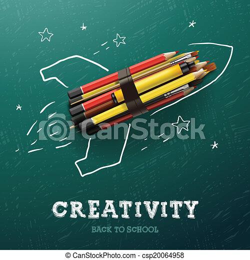 Aprendizaje de creatividad. Cohete con lápices - csp20064958