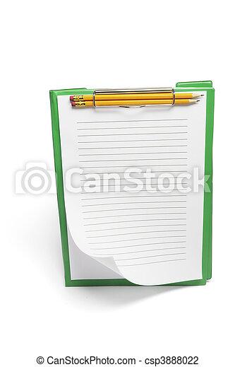 Clipboard con papeles y lápices - csp3888022