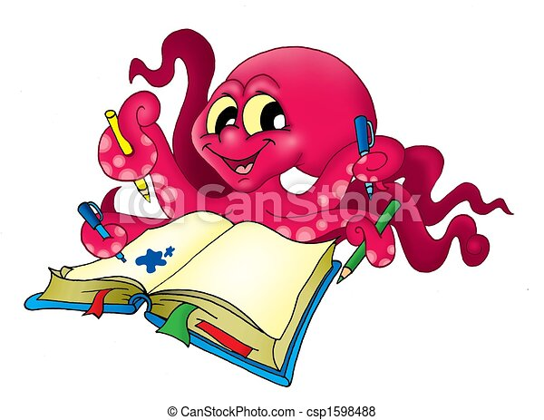 Pulpo con lápices, ilustración de color.