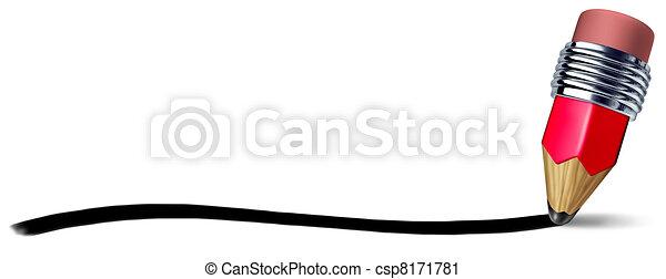 lápis, apoplexia, linha, escrita - csp8171781