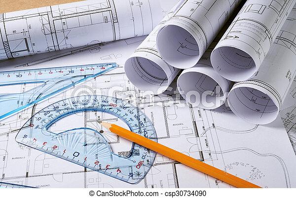 lápis, arquitetura, planos - csp30734090