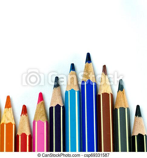 lápis, branca, experiência colorida, ondas - csp69331587