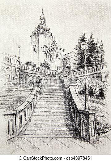 Lapis Dominante Cidade Paper Igreja Antigas Desenho Lapis