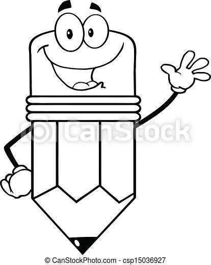 lápis, esboçado, personagem, feliz - csp15036927