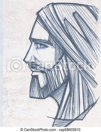 Lapis Jesus Cristo Ilustracao Rosto Lapis Christ Ilustracao