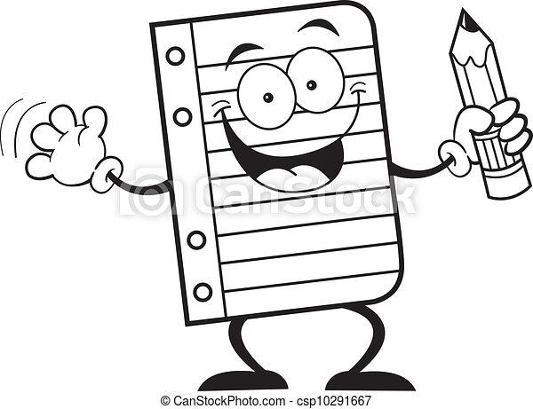 lápis, papel, segurando, caderno - csp10291667