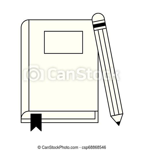Libro Y Lápiz En Blanco Y Negro Diseño Gráfico De Dibujos De Dibujos Animados De Libros Y Lápiz Canstock
