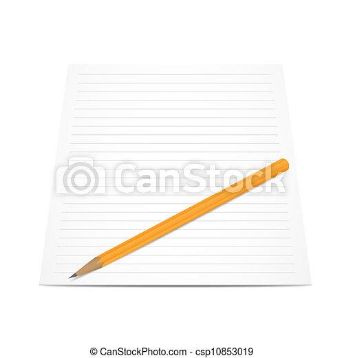 Lápices con papel aislado en blanco - csp10853019
