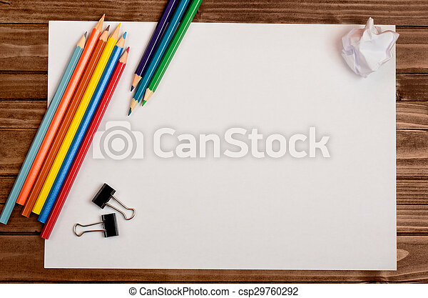 Papel blanco con lápiz colorido - csp29760292