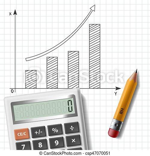 Lápiz, calculadora, hoja, cuaderno, gráfico.