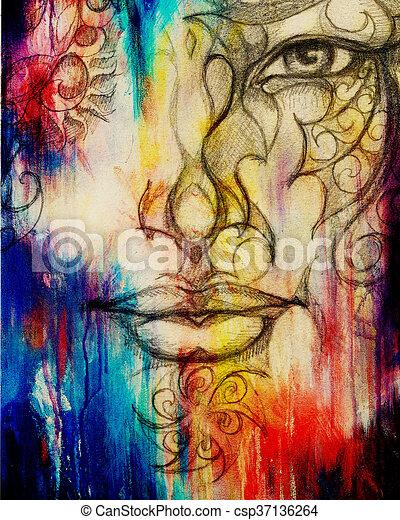 Lápiz Color Ojo Ornamento Dibujo Collage Efecto Cara