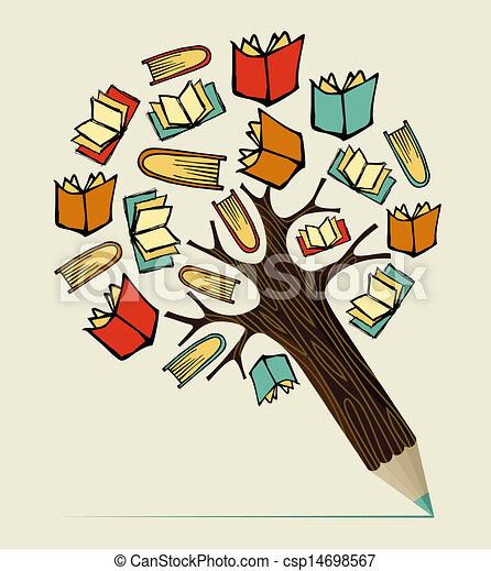 lápiz, concepto, educación, lectura, árbol - csp14698567
