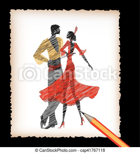 Lapiz Imagen Bailarines Flamenco Hoja Imagen Bailarines Fondo