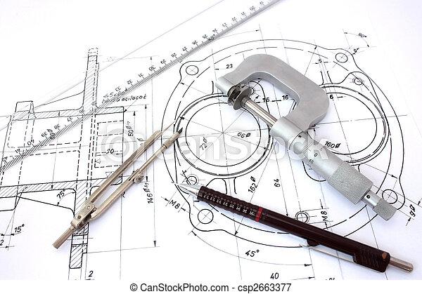 lápiz, micrómetro, blueprint., compás, regla - csp2663377