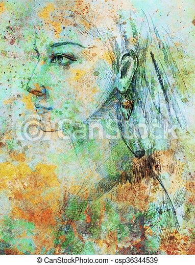 Lápiz Mujer Indio Papel Collage Plumas Efecto Color