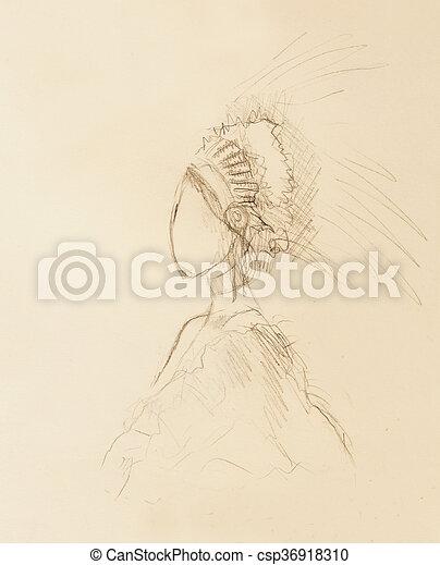 Lápiz Mujer Papel Plumas Indio Hair Dibujo Lápiz Mujer
