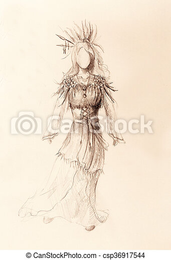 Lápiz Mujer Papel Plumas Indio Flecha Hair Dibujo Lápiz