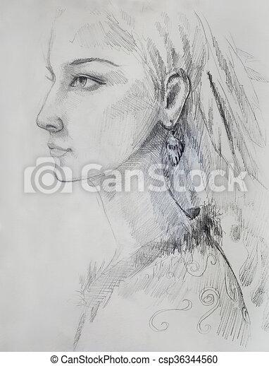 Lápiz Mujer Papel Plumas Pelo Indio Dibujo