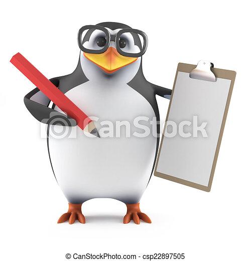 Pingüino Académico 3D con un portapapeles y lápiz - csp22897505