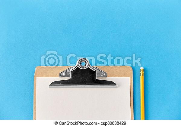 lápiz, portapapeles, hoja, blanco, papel - csp80838429