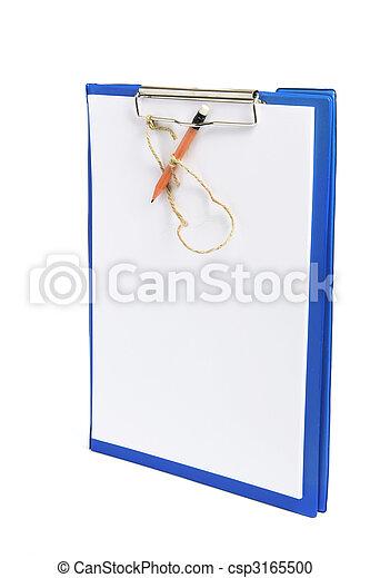 Clipboard con papeles y lápiz - csp3165500