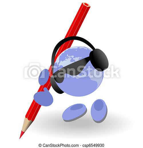 El hombre con un lápiz rojo - csp6549930