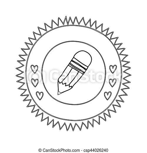Silueta con forma de sol con corazones y lápiz pequeño con goma de borrar - csp44026240