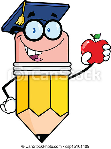 lápiz, tenencia, manzana roja - csp15101409
