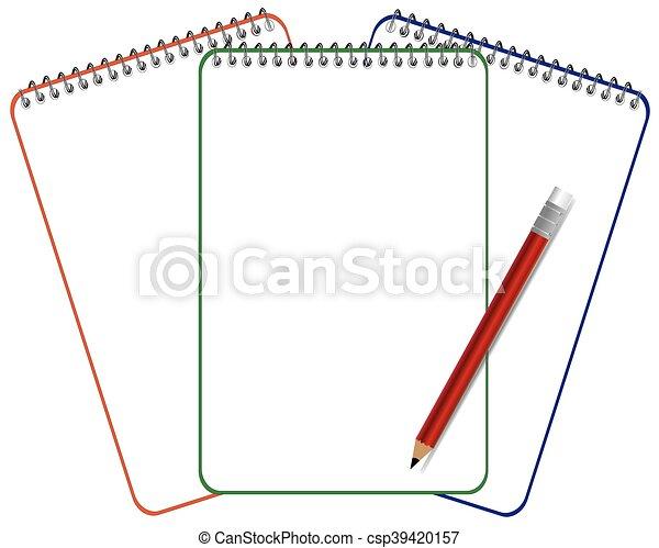 Página de cuaderno con vector de lápiz - csp39420157