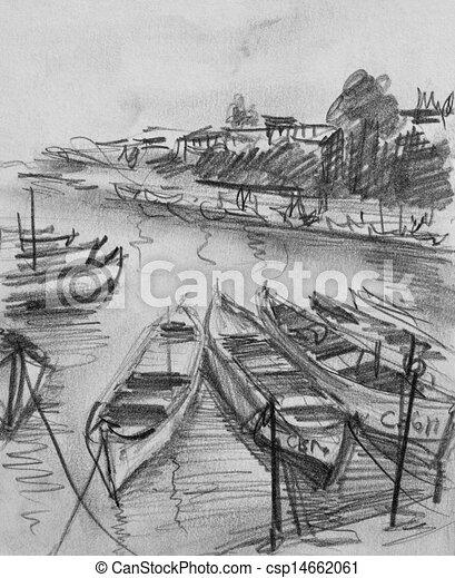 Lápiz Viejo Sozopol Barcos Pesqueros Dibujo Lápiz Bulgaria