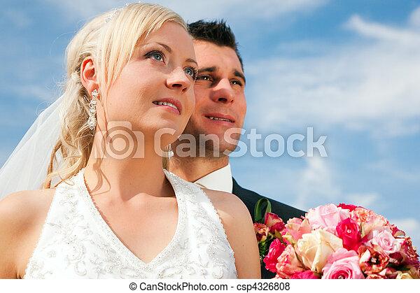 látszó, párosít, jövő, esküvő - csp4326808