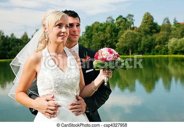 látszó, párosít, jövő, esküvő - csp4327958