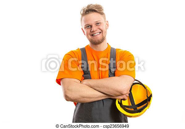 lächeln, bauhofarbeiter - csp23656949