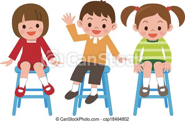 Kinder sitzen im kreis clipart  Vektor Clipart von lächeln, chai, kinder, sitzen - Children ...
