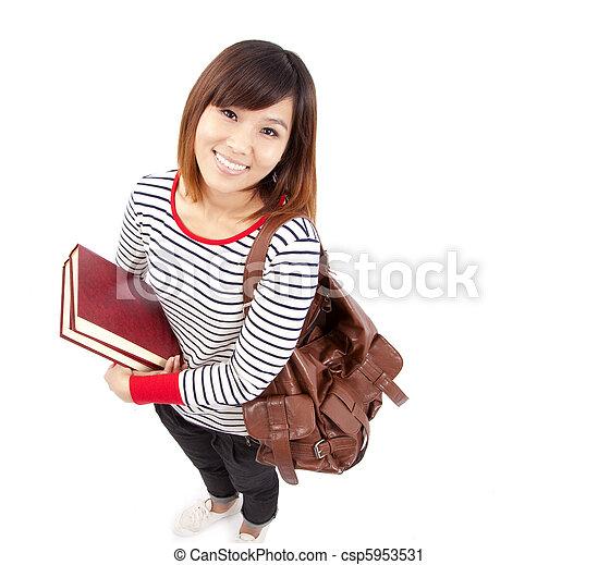 Junge und lächelnde asiatische Studentin - csp5953531
