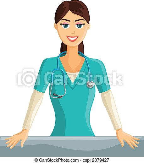 Lächelnde Krankenschwester - csp12079427