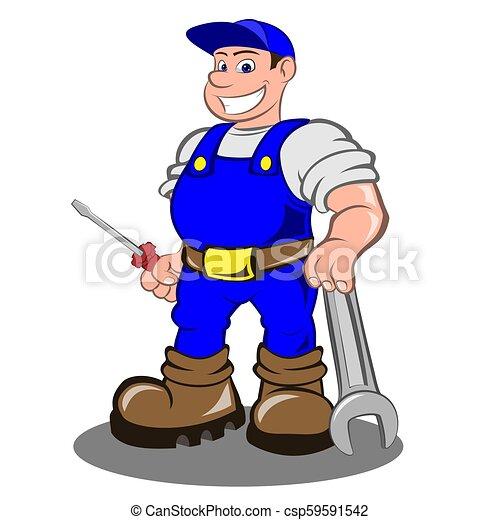 lächeln, mechaniker, mann - csp59591542