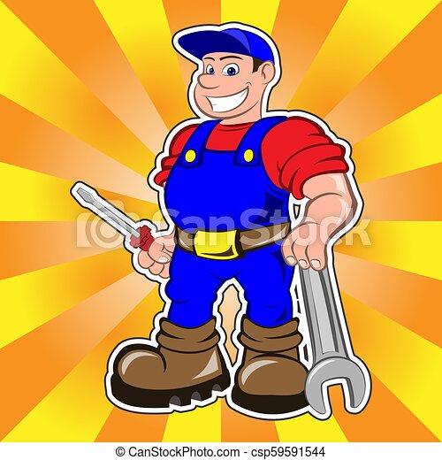 lächeln, mechaniker, mann - csp59591544