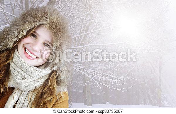 lächeln, winter, m�dchen, draußen - csp30735287