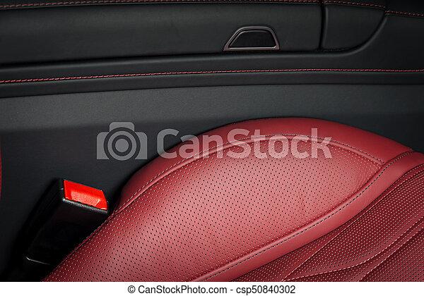 läder, bil, nymodig, lopp, lyxvara, interior., röd - csp50840302